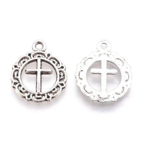100pcs Tibetan Silver Flat Round With Cross Alloy Pendants Metal Charms 20x16mm