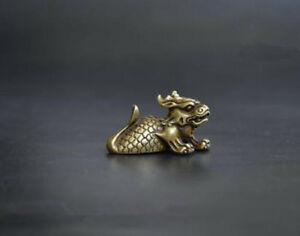 Collection-Asian-archaize-pure-brass-Dragon-fish-Chinese-small-statue-pendant