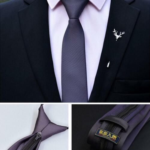 48*6cm Men Zipper Necktie Fashion Solid Color Necktie Lazy Easy To Pull Casual