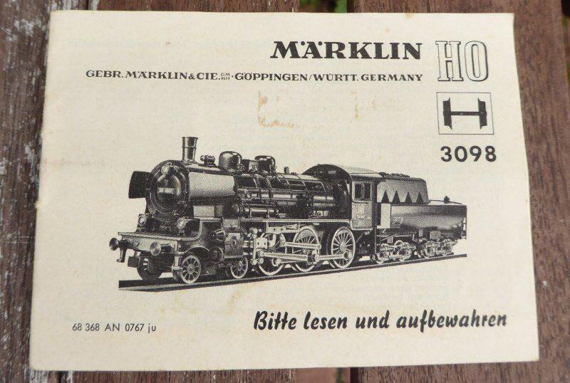Märklin 3098 original Description 07 1967 locomotive à vapeur BR 38 DB