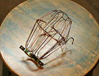 Brass Wire Bulb Cage, Clamp On Lamp Guard, Vintage Trouble Lights - Industrial