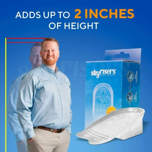 Height Increase Insole 1 Pair 4 Layer Silicone Gel Heel Cushion Pads Insert 2 In