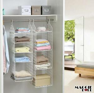 wardrobe storage diy hanger hanging closet organizer clothes shelf rack ebay. Black Bedroom Furniture Sets. Home Design Ideas