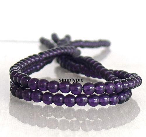 Tanzanite Czech Round Glass Beads 4mm Druk 50 Purple