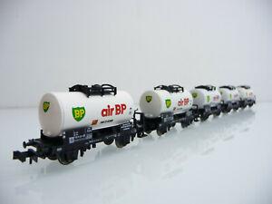 Minitrix-N-1-160-13548-5-teiliger-Kesselwagen-Zug-AIR-BP-2-achsig-weiss