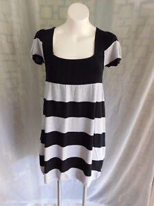 ad537e3e6e1 Pink Rose Black Gray Striped Scoop Neck Short Sleeve Sweater Dress ...
