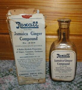 Antique-Rexall-Jamaica-Ginger-Compound-Paper-Label-Cork-top-bottle-in-box