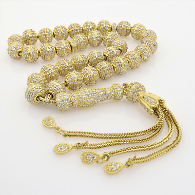 Anatolian traditional beads prayer Turkish Fine silver wire braid with oxidized 33 beads and tassels hand knitted art bead Ottoman