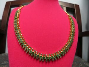 Beautiful-37cts-Natural-Emerald-Choker-Necklace-22-k-Solid-Gold