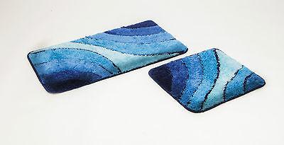 """Badgarnitur,/"""" Wave/"""" 2 teiliges Badematten Set blau Badteppich"""