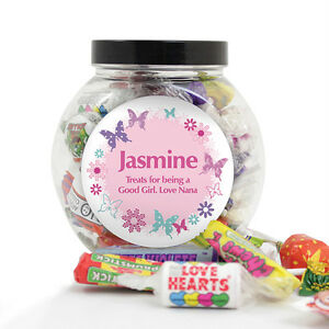 Personalised Butterflies Message Retro Sweet Filled Jar Birthday