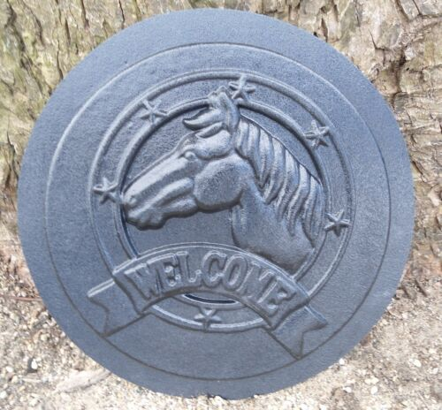 "Horse welcome mold plaster cement casting garden plaque mould 12/"" x 1//2/"" thick"