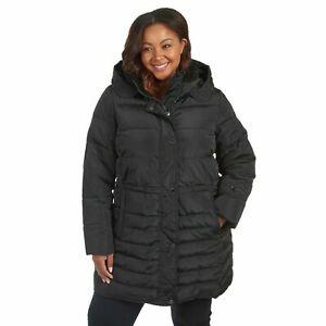 Rachel Roy Plus Cinch-Waist Hooded Puffer Jacket - Women's Size 1X - Black