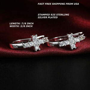 e10d86e0c Image is loading Women-Fashion-Jewelry-925-Sterling-Silver-Plated-Cross-
