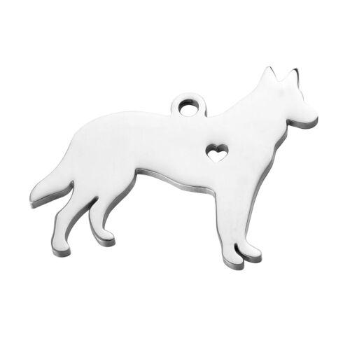 1 Edelstahl Ähanger für Halskette Schäferhund Herz Brushed Bamd 3x2.3cm
