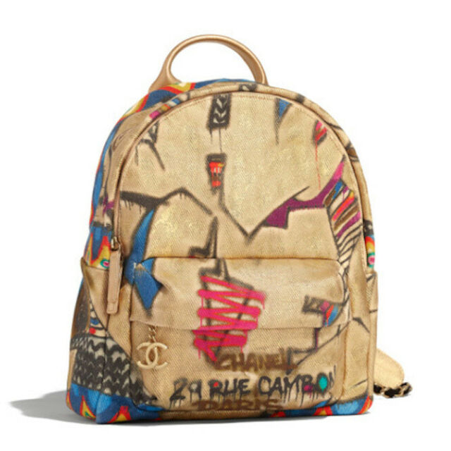 Chanel Graffiti Backpack Bag Calfskin Gold Cotton As0867 Metiers D Art Auth For Sale Online Ebay