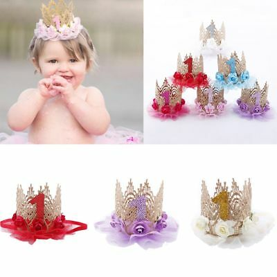 Flower Princess Crown Headband Baby Girl Cute Hair Band Birthday Headwear