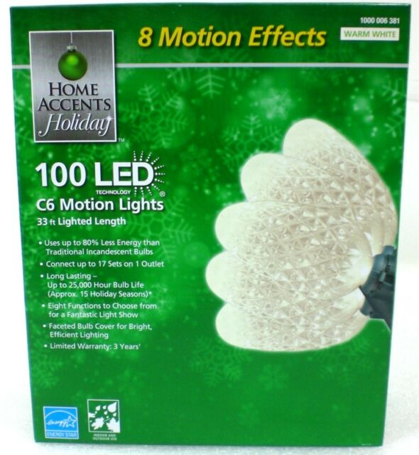 Home Accents Holiday 100 LED C6 Warm White Motion Lights w/ 8 Functions 33  Feet - Home Accents Holiday 100 LED C6 Warm White Christmas Lights W. 8