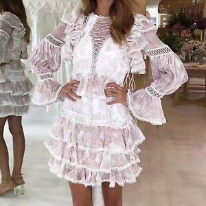 FP-Womens-Ruffle-Dress-High-Waist-Round-Neck-Ruffle-Sleeves-with-Flare-Sleeve
