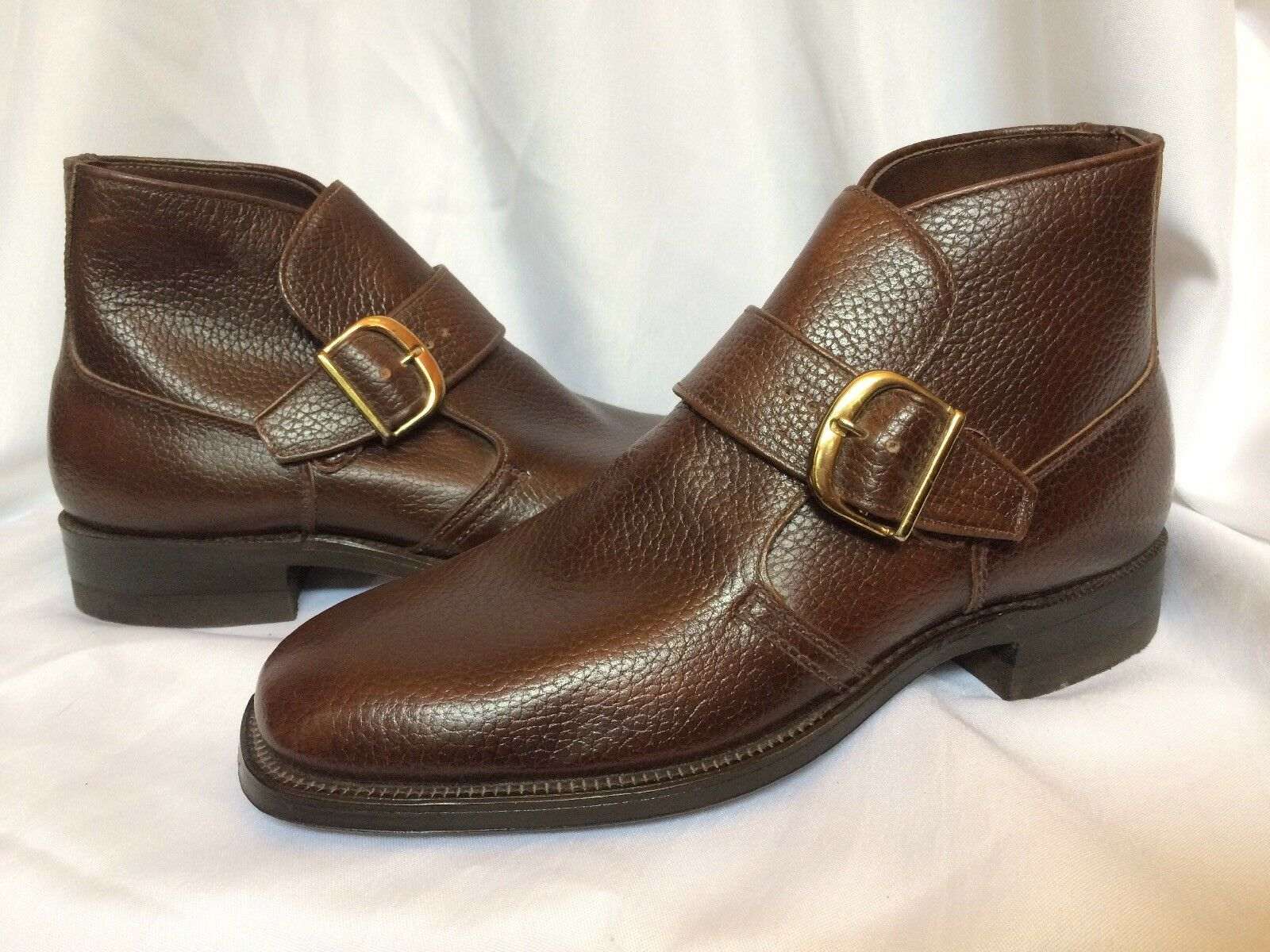 Walk Over Ankle Stiefel Monk Strap Buckle Round Toe USA braun New 7 NOS