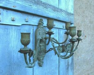 Heavy-Brass-Antique-French-5-Arm-Decorative-Wall-Candle-Sconce-Candelabra-c1890s