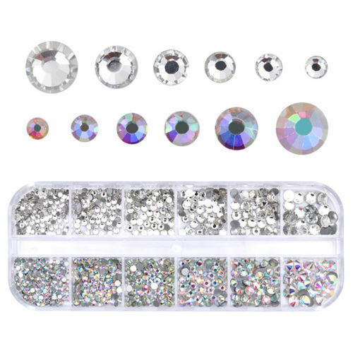 Clear AB Color Nail Art Rhinestone Flat Bottom Multi-size Manicure 3D Decor Set