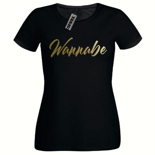 Ladies Fitted Tshirt,Gold Slogan Spice Girls T Shirt Spice Tour Wannabe Tshirt
