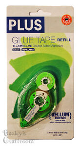 "PLUS Glue Tape Adhesive Vellum REFILL Cartridge 1/3"" x 52' TG-611BC-VE"