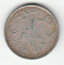 MONNAIE 1 FRANK 1912 ARGENT SYLVER BELGIQUE