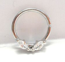 Surgical Steel Marquise Crystal Seamless Hoop Cartilage Ring 16 gauge 16g 10 mm