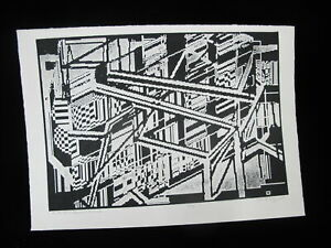 GORDON-GILKEY-Modern-Art-B-amp-W-Signed-Etching-of-Portland-OR-AS-the-PEARL-GROWS