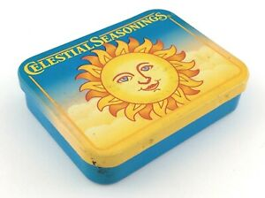 Celestial Seasonings Tin Sun Face Advertising Vintage Container Empty T652