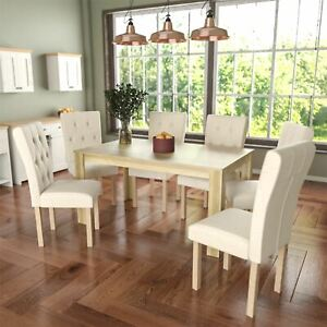 Image Is Loading Dining Table Amp 6 Chairs Fabric Seat Kitchen