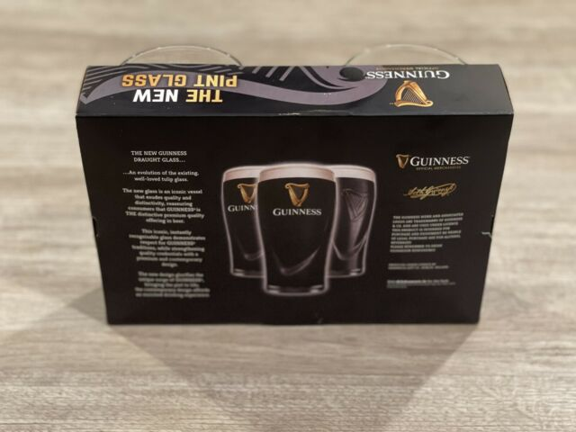 Guinness Embossed Gravity Draught Beer Glass Set 2 Clear Glass Set