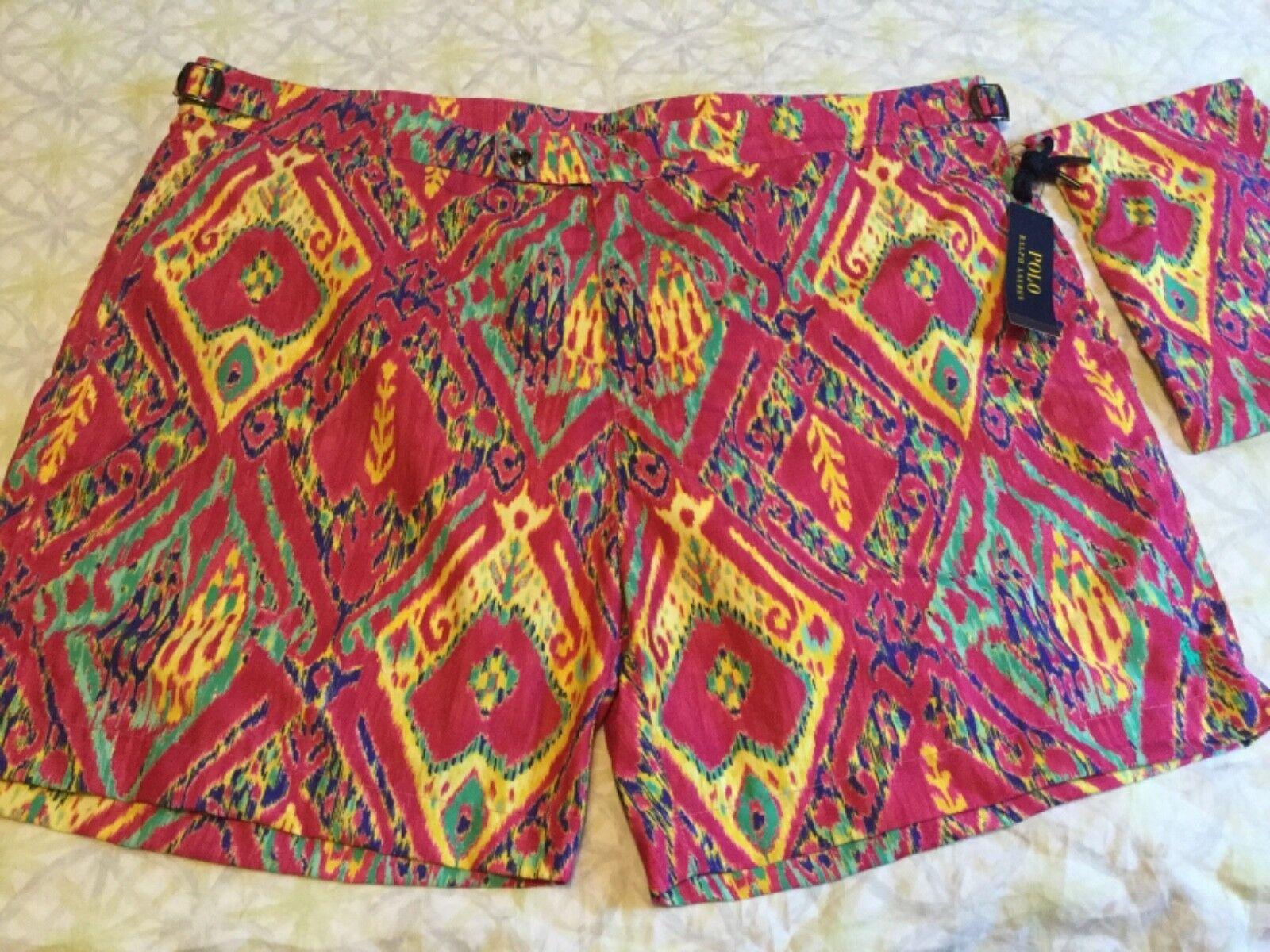 e923f2f3ab2e9 POLO RALPH LAUREN & Multi-color Print SWIM SUIT TRUNKS sz 42 NWT Magenta  nfvbdq259-Swimwear