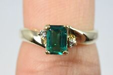 Handmade 10k Gold Emerald Diamond 3 Stone Cocktail Ring .78 ct G-VS1 Size 6
