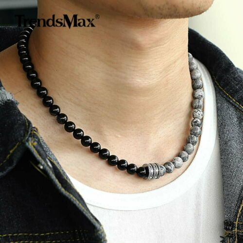 Natural Jasper Stone Matte Black Bead Necklace Choker Men Women Toggle Clasp