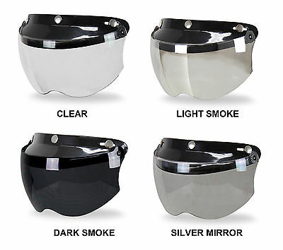 Clear WANCAR Motorcycle Standard 3-Snap Button Flip Up Down Universal Bubble Visor for Open Face Half Helmet Wind Shield