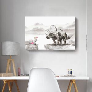 Details About Zen Wall Art Cute Dinosaur Canvas Print Peaceful Artwork Picture Home Decor