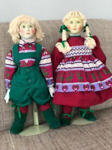 Vintage-Orma-Scandia-Set-of-2-Dolls-w-Porcelain-Face-Hands-Soft-Body