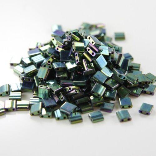 TL468 10 Grams Miyuki Tila Beads-Green Malachite Opaque Iris Metallic