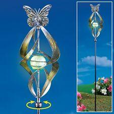 3 Ft. Bronze Butterfly Wind Spinner w/ Glow-In-The-Dark Gazing Ball Garden Stake
