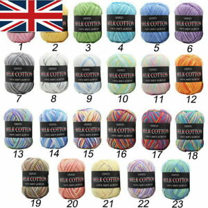 Lot-23-Colors-50g-Mixed-Knitting-Crochet-Milk-Soft-Baby-Cotton-Yarn-Balls-DIY-UK