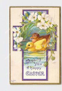PPC-POSTCARD-HAPPY-EASTER-DUCKLINGS-CROSS-FLOWERS-GOLD-EMBOSSED