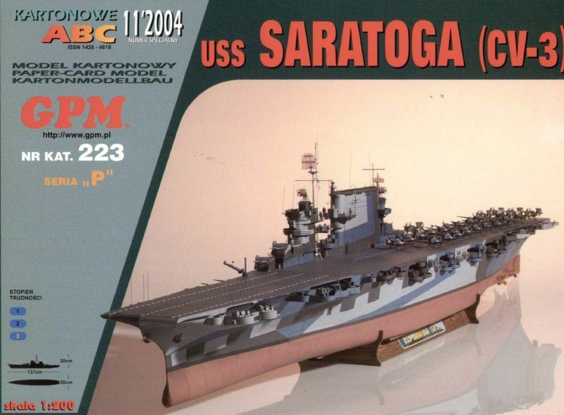 USS Saratoga CV3 aircraft carrier paper card model 1 200 huge 137cm