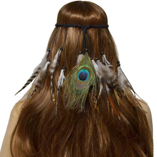 Faux Plume Paon Cheveux Corde Long Tassel Bandeau Ethnique Style femmes Fille