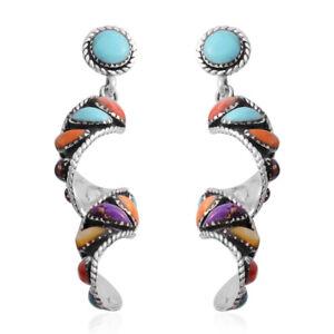925-Sterling-Silver-Multi-Turquoise-Dangle-Drop-Earrings-Southwest-Gift-Ct-2-2