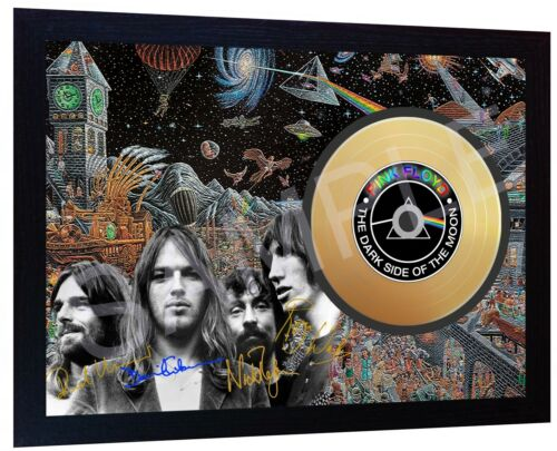 Pink Floyd  Mini Gold Vinyl CD Record Signed Framed Photo Print Autographed