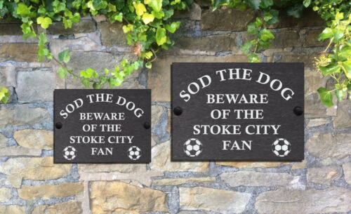 Beware Of The Football Fan Funny Slate Sign for Gate Door ENGLISH TEAMS P Y