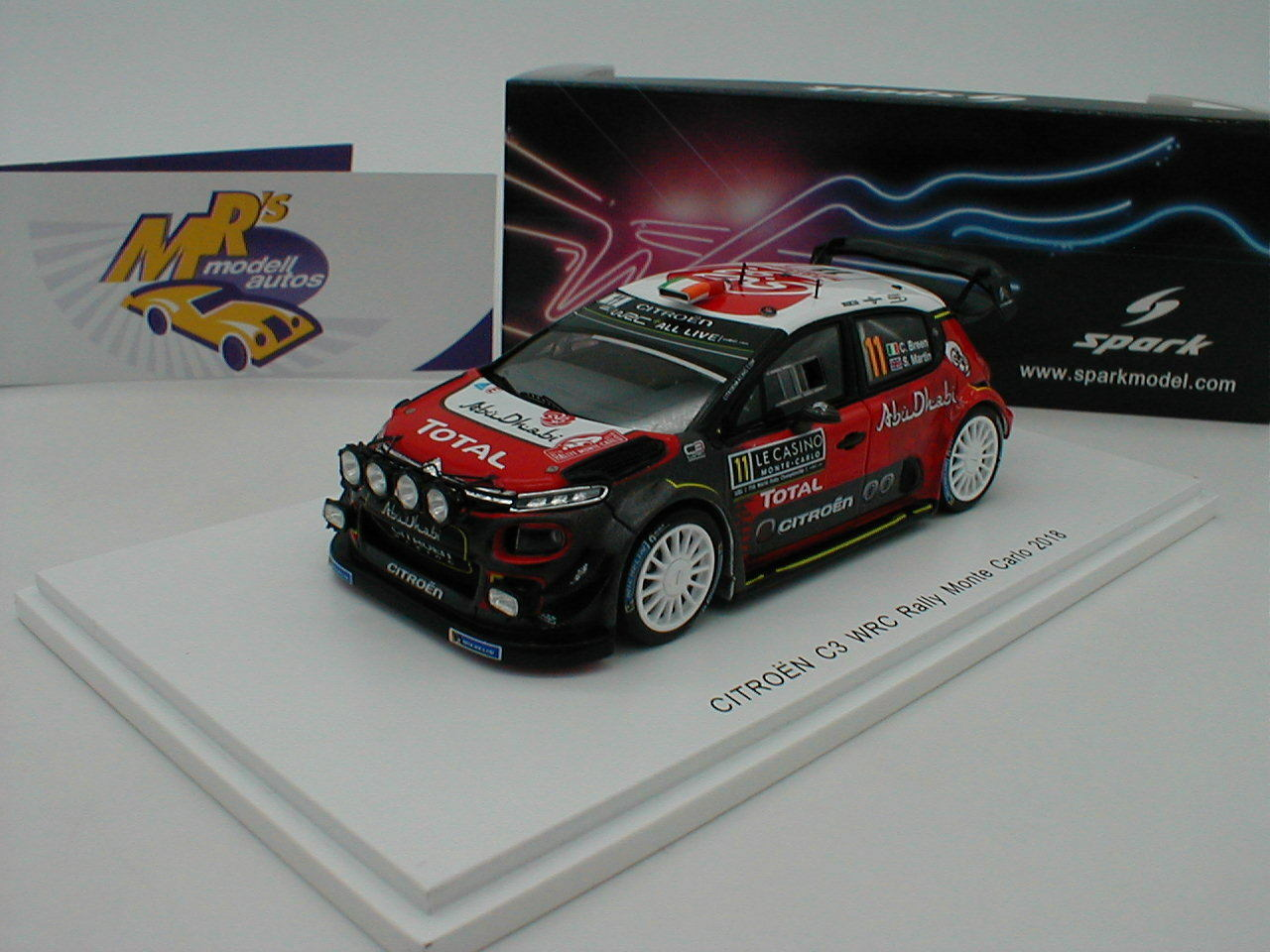 Spark S5961 - Citroen C3 WRC Rallye Monte Carlo 2018    Craig Breen   1 43 NEU